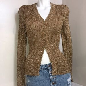 Sparkly Gold Glitter Sweater Long Sleeve Cardigan